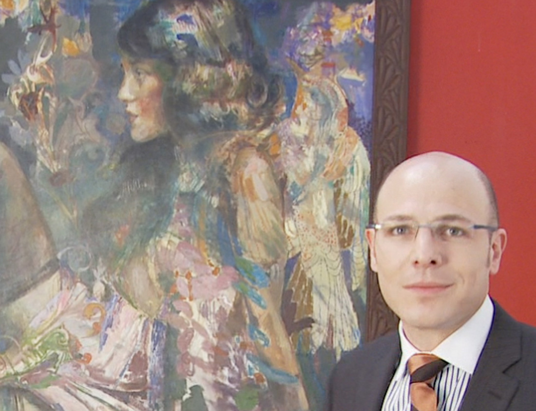 Mason Hayutin with Charles Dwyer's Lubie's Love Painting